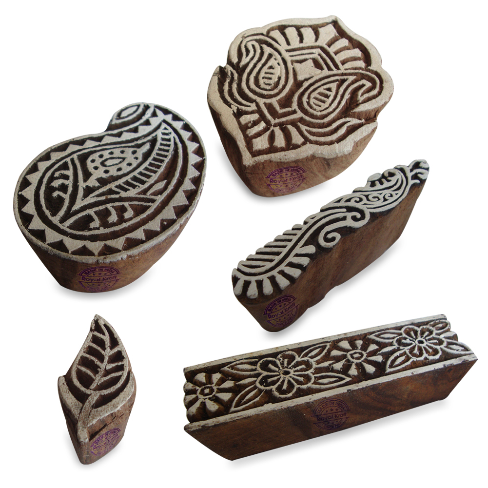 Floral Wooden Printing Blocks 3 Inches